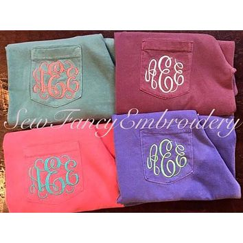 Comfort Colors Long Sleeved Monogrammed Pocket T Shirt