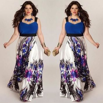 Plus Size Women Floral Printed Long Evening Party Prom Gown