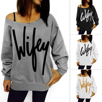 Womens Off Shoulder Wifey Letter Print Top Sweatshirt Pullover
