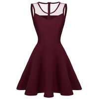 ACEVOG Women elegant dresses Summer Sexy Lady 4 colors Mesh High Waist Pleated Casual Knee Length Swing Dress PLUS SIZE - Brides & Bridesmaids - Wedding, Bridal, Prom, Formal Gown