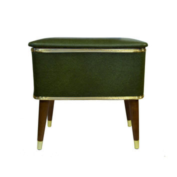 Mid Century Green Storage Bench Sewing Chest by BananasDesign