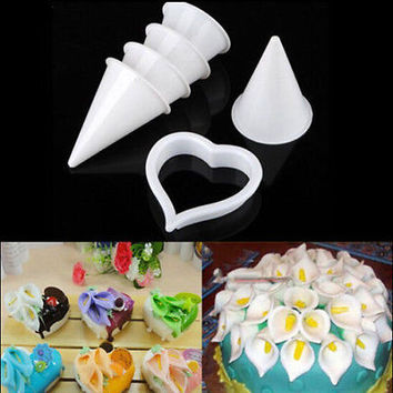 Cake Decor Plunger Cutter Mold Sugarcraft Fondant Tools Calla Lily Flower HU