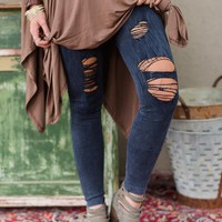 Distressed Denim Leggings - Denim Blue