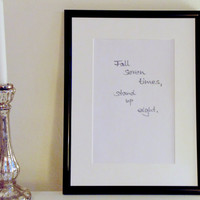 Fall seven times stand up eight - gray on white - DIN A4 - Wall Art Print handmade written - original by misssfaith