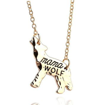 Mama Wolf Gold or Silver Charm Necklace