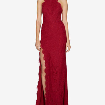 Fame and Partners Lace Halter Slit Gown - Juniors Prom Dresses - Macy's