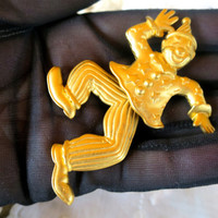 JJ Dancing Clown Jester Brooch Signed JJ Gold Tone 3 inches Articulated Moving Swinging Legs JJ Jonette Artifacts Jewelry Circus Clown