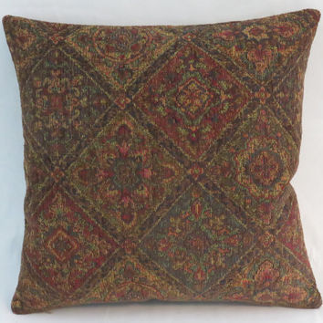 "Jewel Tone Tapestry Pillow, 17"" Sq, Red Brown Teal Gold , Diamond Medallion, Carpet Style, Cover Only or Insert Included, Ready Ship"