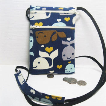 Fabric travel pouch, Neck wallet, Passport Holder, Small sling bag, Travel Accessory, Zipper Pouch - Whale on dark blue