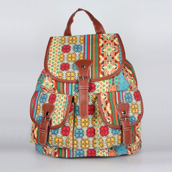 Retro Folk Fashion Casual Anchors Travel Backpack