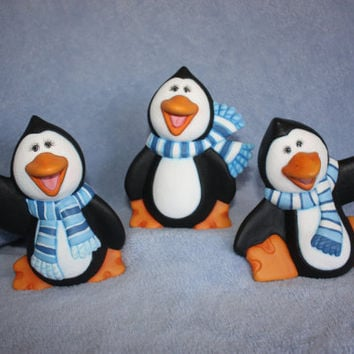 Handpainted ceramic Penguin Trio Chilly by FlutterbyConnections