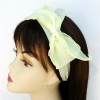 Bow Headband Chiffon Wedding Yellow Inspired Bridal