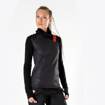 Cyberpunk sweater sci fi pullover industrial shirt cyber long sleeves thumb holes - 7N woman