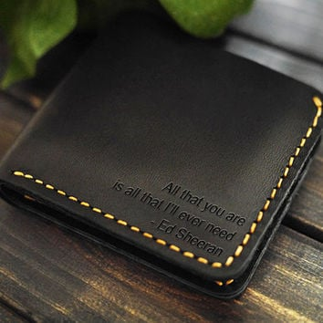 Mens Leathet Wallet/ Minimal Wallet/Custom Wallet /Slim Wallet with initials/Bifold Wallet/Gift Ideas for Him/Fun Birthday Gift