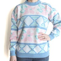 1980s Sweater | Womens Oversize Sweater | Vintage Pastel Sweater