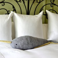 oversized narwhal pillow - decorative pillow by mountroyalmint