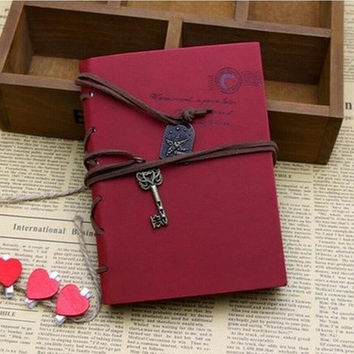 Vintage Retro PU Leather Leaf Magic Key String Classic Note Book Journal Diary Random Color [7983551111]