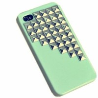 niceeshop(TM) Green Fashion Silver Pyramid Punk Spikes and Studs Rivet Case Cover for iPhone 4 4S With Screen Protector