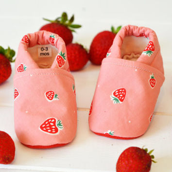 "Organic ""Pink Strawberry"" Shoes - NB to 4T"
