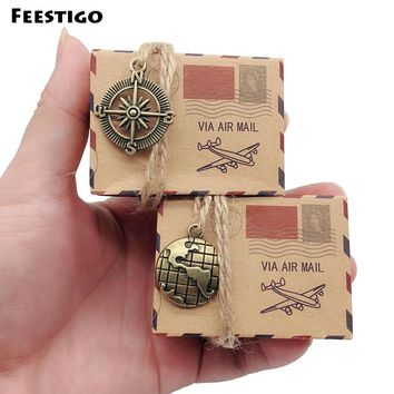 Feestigo 50pcs Wedding Vintage Candy Box Kraft Packaging Gift Box Wedding Favors and Gifts Bag Travel Themed Party Supplies