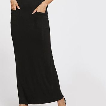 Sheath Basic Maxi Skirt Elegant Women Casual Pockets Front Pencil Slim Skirts Work Brief Long Skirt
