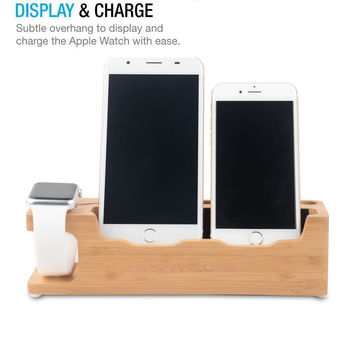 Minimalist Wooden Phone Stand for Apple iPhone + Watch (Charging Dock)
