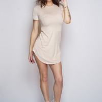 Claudia Suede T-Shirt Dress - Nude