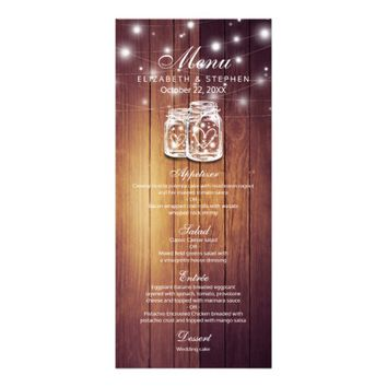 Rustic Wood & Mason Jar String Lights Wedding Menu