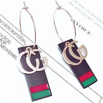 GUCCI fashion temperament large ear ring hanging letters black long square red and green earrings women long fashion women titanium steel earrings