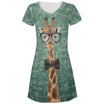 Giraffe Geek Math Formulas All Over Juniors Beach Cover-Up Dress