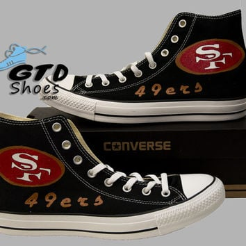 Hand Painted Converse. San Francisco, 49ers, 49 ers, Football, Sports. Handpainted shoes.