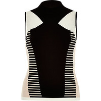 River Island Womens Black and white block print knitted polo top