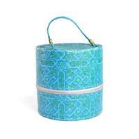 Retro Blue Wig Box Luggage Case - Mod Round Cylinder, Styrofoam Head Form Included - Vinyl, Carrying Handle - Vintage Home & Vanity