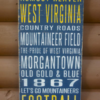 West Virginia University Distressed Wood Sign--Great Father's Day Gift!