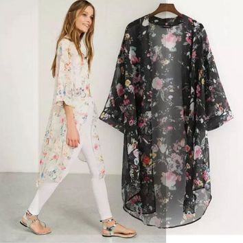 Floral Print Loose Cardigan Chiffon Tops Cover Up