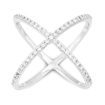 "Sterling Silver Pave CZ ""X"" Criss Cross Long Ring (Size 10)"