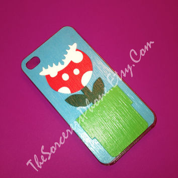 "HANDMADE  ""Super Mario Bros inspired"" Piranha Plant iPhone 4 / 4s / 5 Phone Case, Brothers NINTENDO Mod Podge Cover"