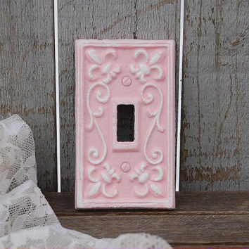 Switch Cover, Shabby Chic, Pink, White, Single, Wall Plate, Ornate, Fleur de Lis, Cast Iron