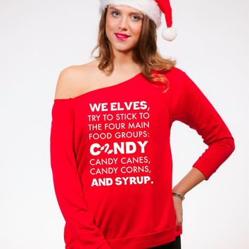 We Elves Women's Off Shoulder Funny Christmas Sweater