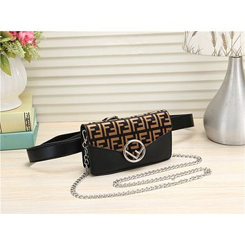 FENDI Women Shopping Leather Metal Chain Crossbody Satchel long paragraph Waist bag