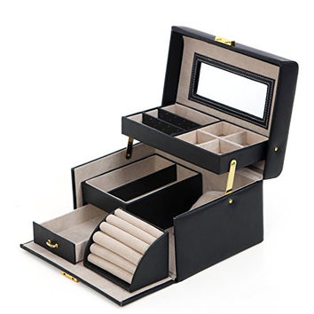 Girls Jewelry Box Lockable Jewelry Organizer Mirrored Storage Case Black