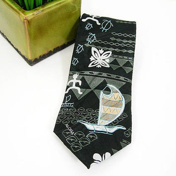 Hawaiian Necktie for Men, Vintage Tropical Hand-made Polyester Tie, Black Gray Tan, Aloha Boat Turtle Man Design, Hawaii Gift for Him Dad