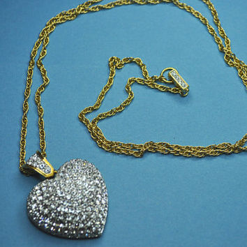 SWAROVSKI Vintage Large Gold and Pave Crystal Heart Pendant Necklace on Long Gold Rope Chain, Simply Stunning! #A491