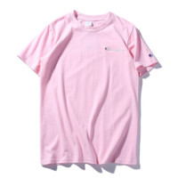 """"""" CHAMPION""""Hot Sale Fashion loose leisure round neck T-shirt (5 color) pink"""