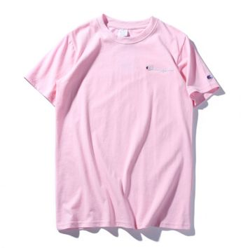 """ CHAMPION""Hot Sale Fashion loose leisure round neck T-shirt (5 color) pink"