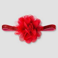 Baby Girls' Red Tulle/Chiffon Flower on Tinsel Headwrap - Cat & Jack™