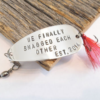 Custom Fishing Lure Anniversary Gift for Husband Fishing Hook Personalized Spinner Spoon Bait We Finally Snagged Each Other Established 2015