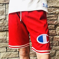 Champion Summer New Fashion Embroidery Logo And Letter Print Women Men Leisure Shorts Red