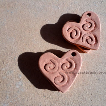 Handmade Heart, Swirl, tribal style Terracotta Bisque Ceramics Unglazed, Aromatherapy Essential Scented Oil Diffuser Pendants
