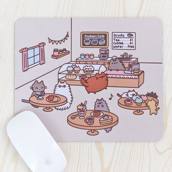 Pusheen Cat Cafe mouse pad